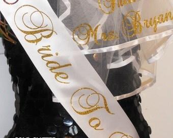 Veil, Bride To Be Veil, Bachelorette Veil & Sash, BacheloretteFREE PERSONALIZATION Monogrammed Veil, By Val's Veils