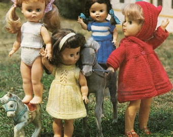 Doll Clothes Knitting Patterns to fit 10 , 12 , 14 or 16 inch doll