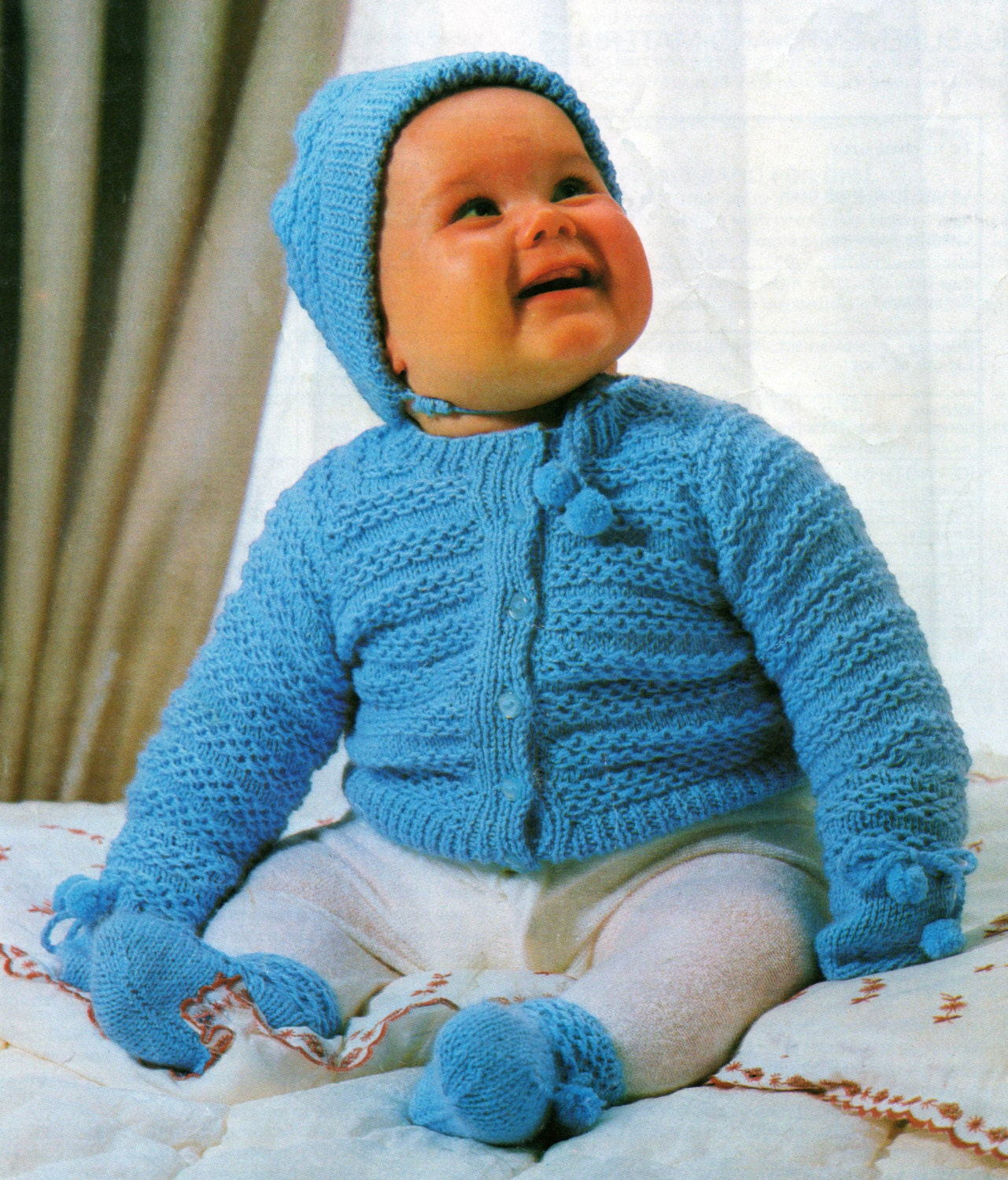 Baby Jacket Cap Bootees and Mittens Knitting Pattern - 16 ...