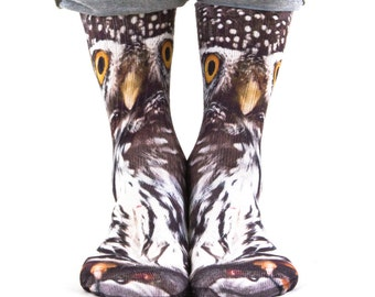 Samson® Owl Hand Printed Socks Sublimation Animal Owls Quality Print UK