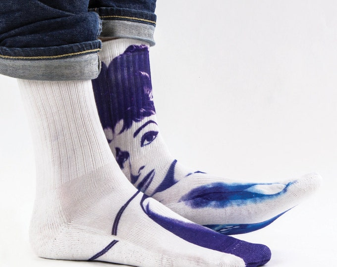 Samson® Audrey Hepburn Hand Printed Socks Space Sublimation Actress British Famous Quality Print UK