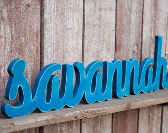 Wooden Baby Name Sign - Savannah - Wooden name signs for nursery decor or baby shower gifts