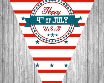 Printable 4th of July Banner - Happy 4th of July - Independence Day Banner - Digital Banner