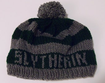 Slytherin Knitted Hogwarts House Hat - Made to Order