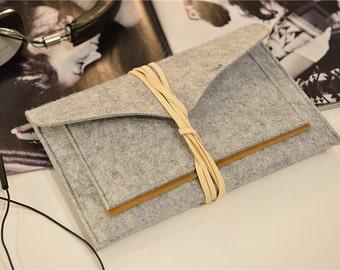 Leather String Closure iPad Mini Retina Case , iPad Mini Sleeve Case , iPad Mini Sleeve Felt , iPad Mini Sleeve , Custom Made #228