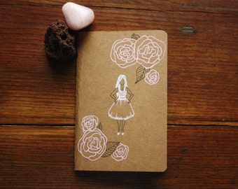 Hand Illustrated Notebook, Blank Journal or Diary-pink girl
