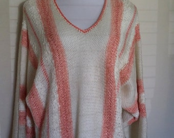 70's top,  XL, XXL, plus size, knit sweater, 70's sweater, striped sweater, peach sweater, orange sweater, batwing sweater