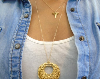Tribal Necklace, 14K gold filled chain, tribal pendant, everyday gold necklace, long layering necklace, tribal long necklace, round pendant