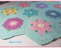Soft Huggable, Crocheted Baby Blanket, Hexagon Flowers Afghan, Comfy Lapghan . .