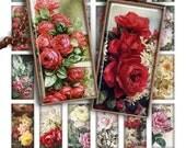 75 % OFF vente peinture Roses numérique feuille de collage imprimable Télécharger 1 x 2 pouces image taille rectangle verre pendentif résine digital image fleurs
