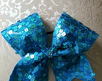 Turquoise Sequin Cheer Bow