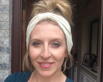 Turban Headband women, Gold and Ivory Turban, Boho Turban Headband, Adult headband woman, Boho Turban, Reversible Turban Headband