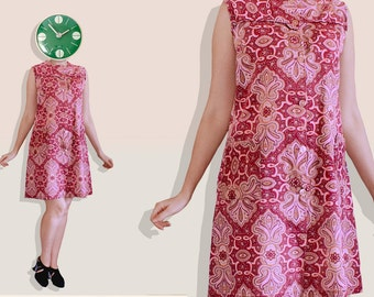 70s Biba Indian Mystical Burgundy Paisley Dress - Sleeveless Shift Button-up Kaleidoscope Printed Dress