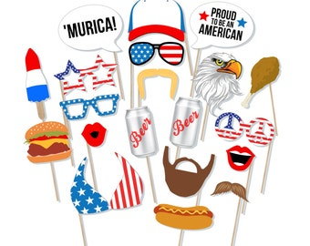 Printable 'Murica Photo Booth Props - 4th of July Photo Booth Props - America Photobooth - Patriotic Photo Prop - Merica Prop - Memorial Day