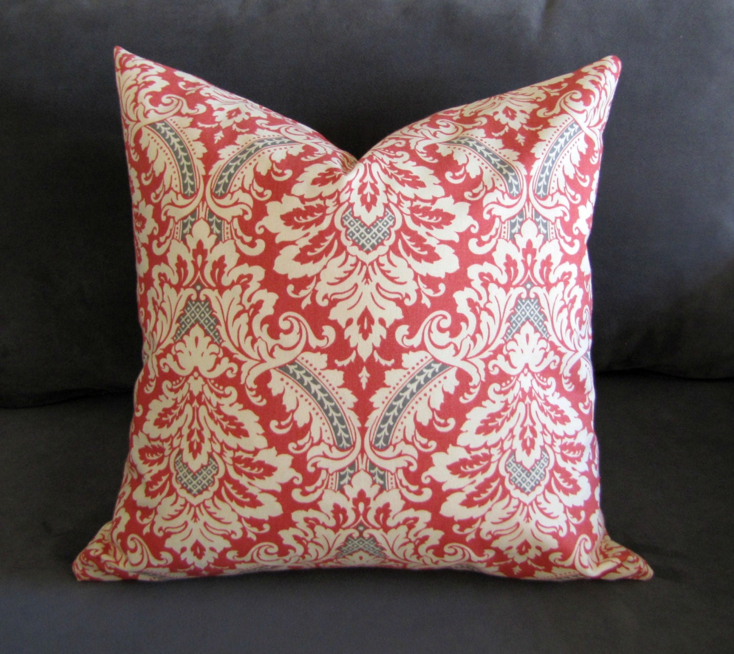 Orange Decorative Pillows Couch : Burnt orange throw pillow damask print sofa pillow by GratefulHome