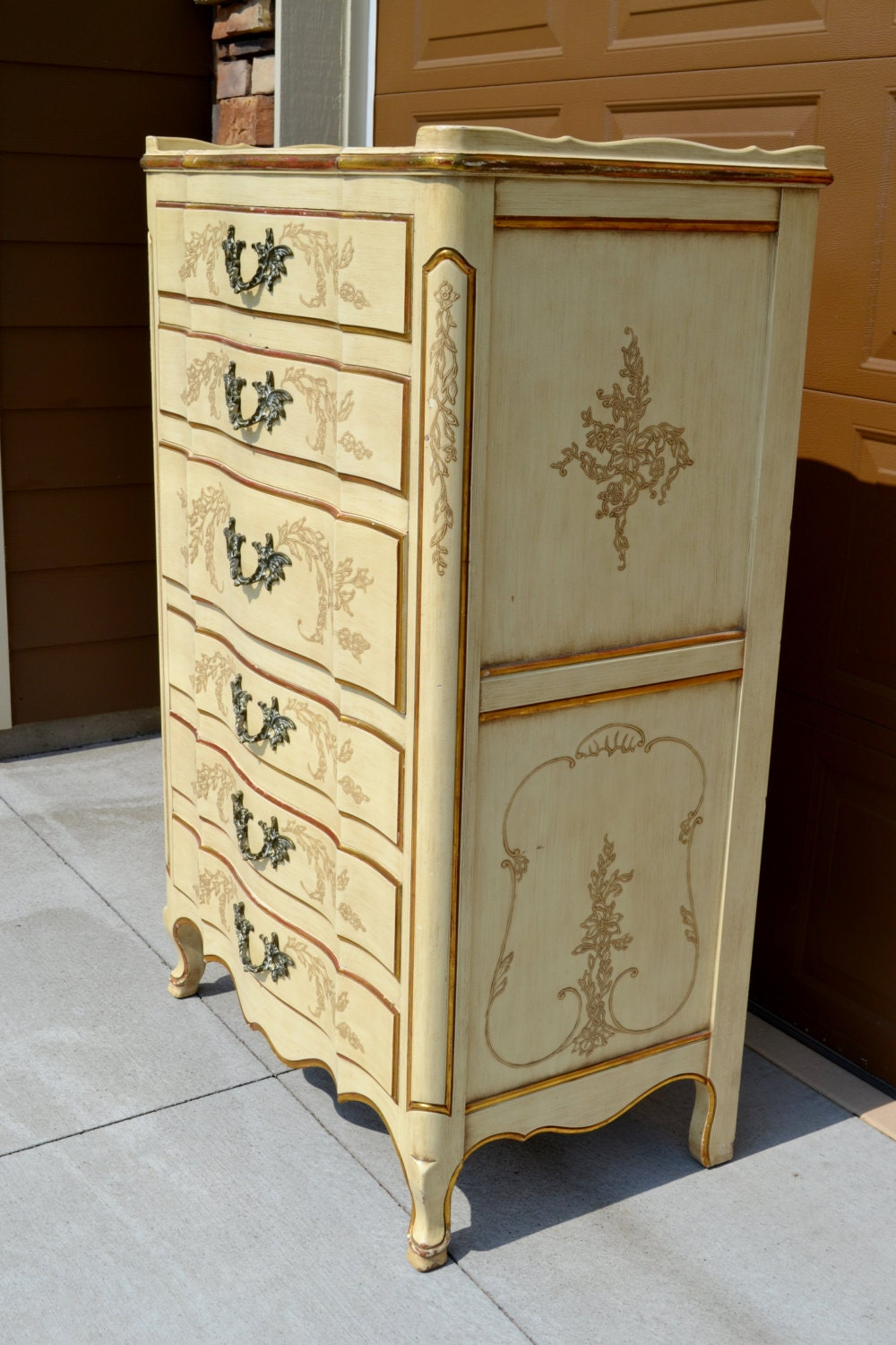 John Widdicomb French Provincial Tall Dresser Highboy