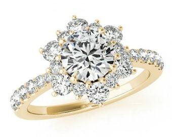 Black Friday DEAL, Forever ONE Moissanite Ring - Full Bloom Lotus Flower Diamond Engagement Ring 14k Yellow Gold - Moissanite Wedding Set