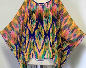 Adorable Printed Poly Chiffon Poncho Caftan Tunic, Boho, Country, Hip Hop,Beach,Cover up,resort wear