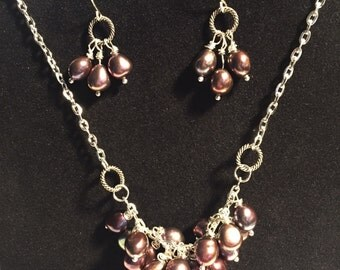 Fresh Water Pearl Cluster Necklace