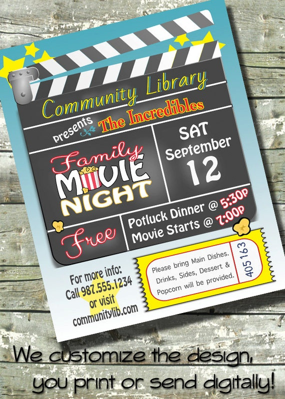 movie night birthday party church or community event 5x7. Black Bedroom Furniture Sets. Home Design Ideas