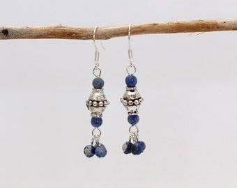 Handmade Natural Gemstone, Sodalite, and Antiqued Pewter Dangle Earrings