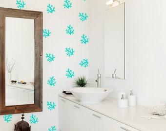 40 X Coral Pattern Wall Decal / Bathroom Wall Sticker