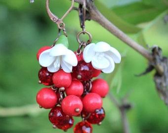 Red Cranberry Earrings, Ukraine earrings, red viburnum bush Earrings, Polymer Clay Jewelry, Handmade Red Cranberry