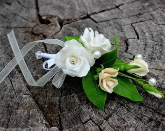 Wedding Barrette - Rose Barrette - Floral Barrette - White Wedding Barrette - Cold Porcelain Flowers - Handmade Hair Accessories