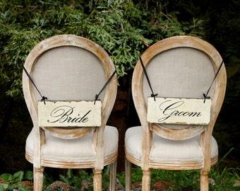 Bride & Groom Wedding Signs - Bride and Groom Chair Signs - Rustic Wedding Signs