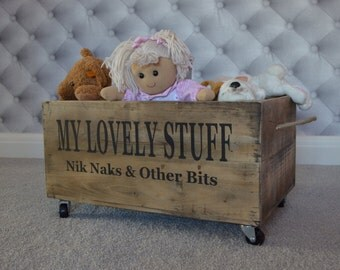 Large Personalised Rustic Wooden Crate Storage Box On Casters For Toys,  Clothes Etc