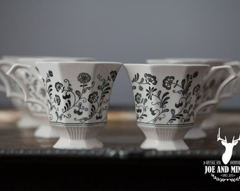 Independence Interpace Ironstone Millbrook Black Floral Teacups