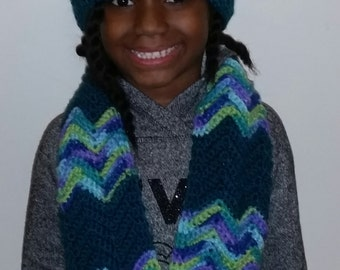 Crochet Ripple Hat and Scarf