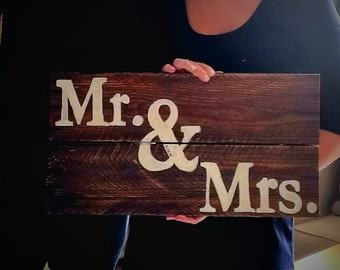 Mr. & Mrs. Wood Sign for Engagement and Wedding Photos