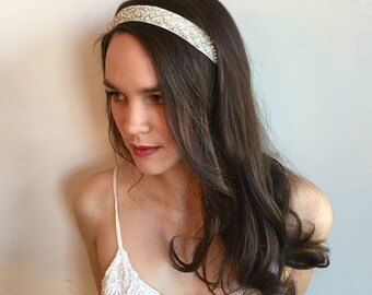Elegant Rhinestone Bridal Headband-Small Beaded Bridal Hair Piece-Rhinestone Crystal Bridal Headpiece-Art Deco Rhinestone Hairpiece