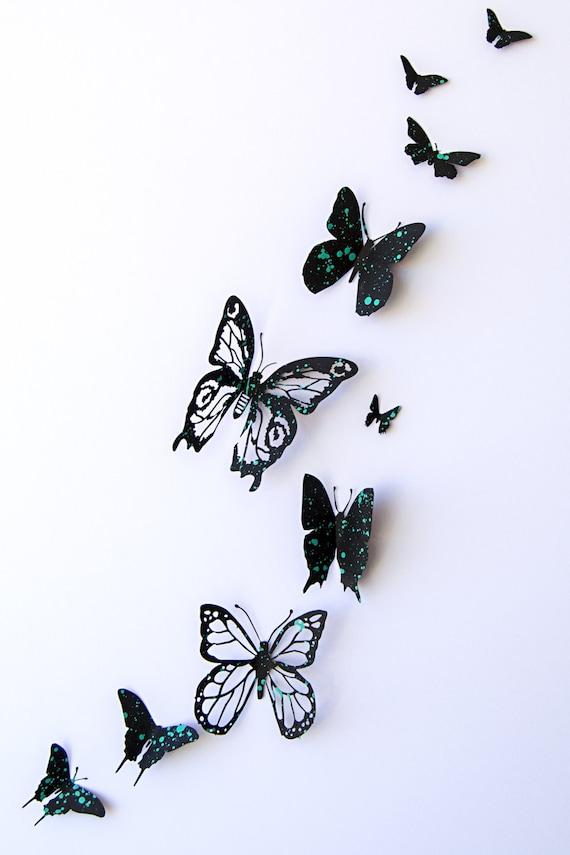 Mariposas 3d de papel pintado a mano polka dots en por - Papel pintado a mano ...