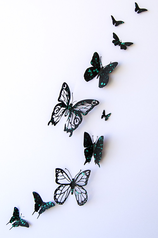 Mariposas 3d de papel pintado a mano polka dots en por eydavydesign - Papel pintado a mano ...