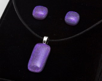"""Dichroic """"Lavender Fields"""" fused glass & 925 sterling silver pendant and earrings matched jewelry set"""