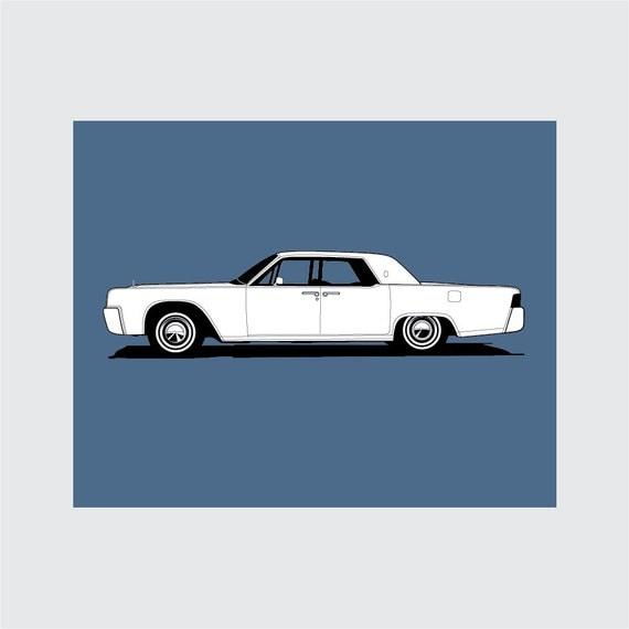 1964 lincoln continental sedan art print 8x10 printable. Black Bedroom Furniture Sets. Home Design Ideas