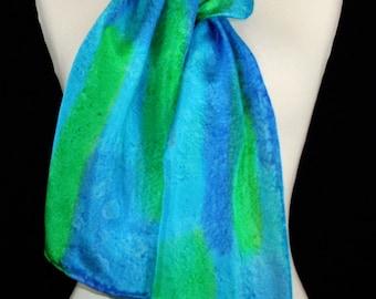 Turquoise Silk Scarf. Blue, Green Hand Painted Silk Shawl. Handmade Silk Scarf TRANQUILITY GARDEN. Size 8x54. Birthday, Bridesmaid Gift