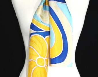 Hand Painted Silk Scarf. Blue, Yellow, Tan Handmade Silk Scarf, SUNNY PATCHES. Size 8x54. Mother Gift, Anniversary Gift. Gift-Wrapped.
