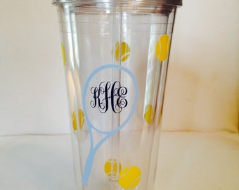 Personalized Acrylic Tumbler- 20 oz. Tennis Theme