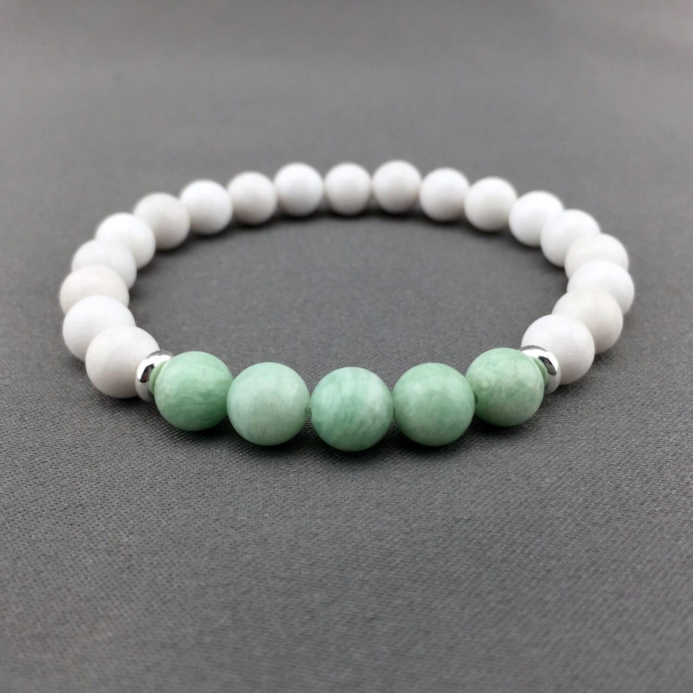 Genuine Jade Beads: Genuine Amazonite And Jade Bracelet Gemstone Stretch