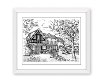 Auberge de la Source, Normandy, France, Pen and Ink Print, 5x7, 8x10, 11x14, 13x19, Architectural Print, Pen and Ink Illustration