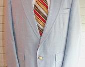 Stafford Blazer Jacket Sport Coat Light Baby Powder Blue Gold Buttons 44 Long EUC Mens Vintage Retro
