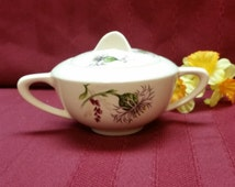 Vintage Universal Ballerina Sugar Bowl and lid - Thistle Pattern - PERFECT Condition, Bright and Colorful