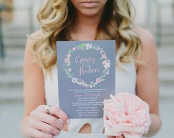 Boho Wedding Invitation, Floral Wedding Invitation, Rustic Wedding Invitation, Bohemia Wedding Invitation, Country Wedding Invite