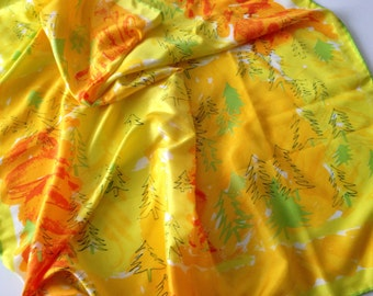 Vintage Scarf, Vera, SHIPS FREE, Japan, 60s, Mod, Retro, Hippie, Groovy, Yellow, Orange, Green, Abstract Trees, Large Square, Autumn Fall