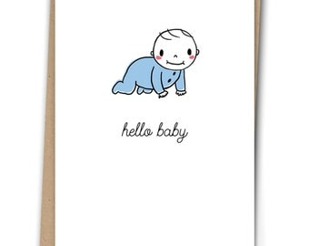 Hello Baby Boy Cute Greeting Card - New Baby - Illustrated - Blank Inside - A6 Card