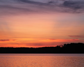 Pink sunset on the lake