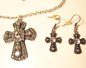 Sparkly Rhinestone Cross Pendant Necklace and Earrings  (#320)